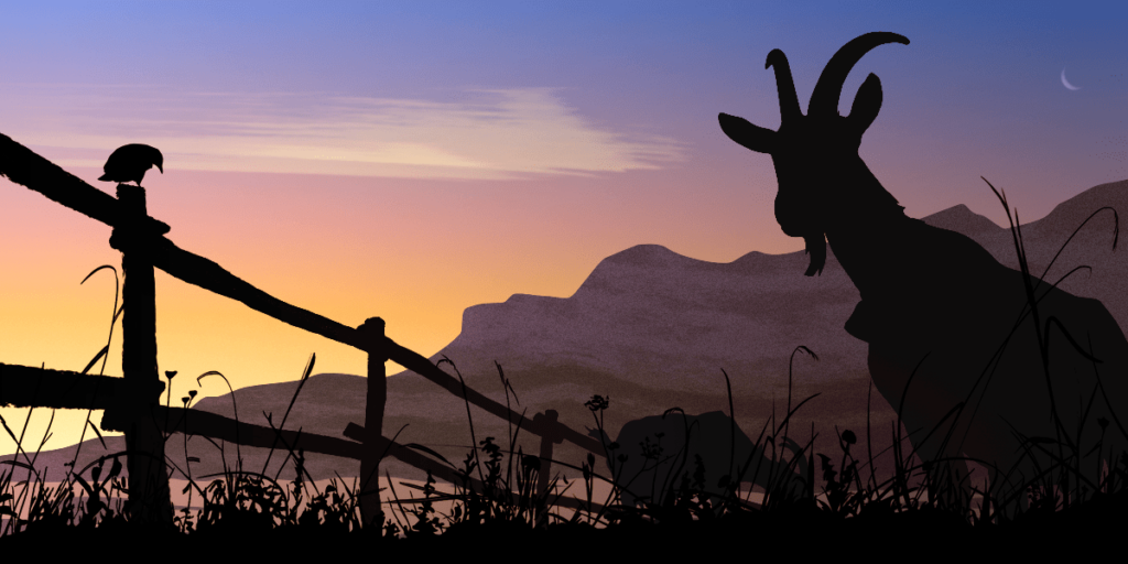 silhouette vector illustration of animals, gras, mountain