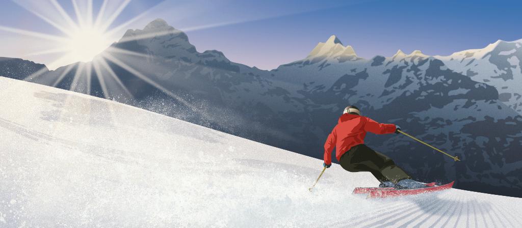 Ski Sunny Winter sports Vector Illustration